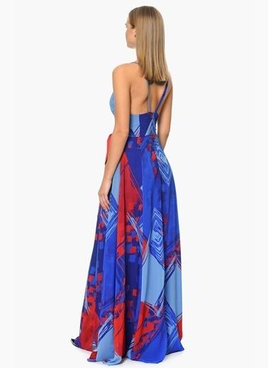 NetWork Derin V Yaka Uzun Abiye Elbise Mavi